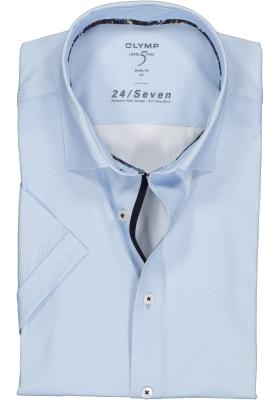 OLYMP Level 5 24/Seven body fit overhemd, korte mouw, lichtblauw tricot mini dessin (contrast)