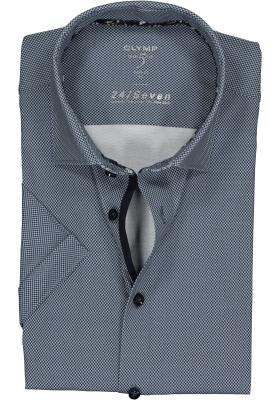 OLYMP Level 5 24/Seven body fit overhemd, korte mouw, marine blauw tricot mini dessin (contrast)