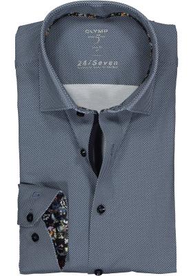 OLYMP Level 5 24/Seven body fit overhemd, marine blauw tricot mini dessin (contrast)