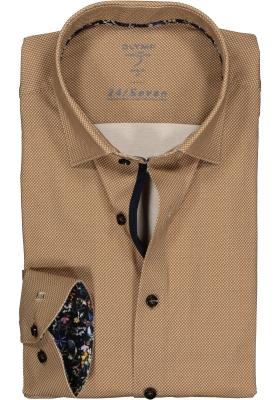 OLYMP Level 5 24/Seven body fit overhemd, bruin tricot mini dessin (contrast)