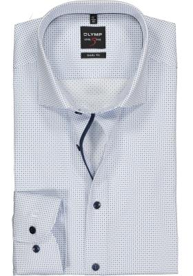 OLYMP Level 5 body fit overhemd, wit met lichtblauw dessin satijnbinding (contrast)