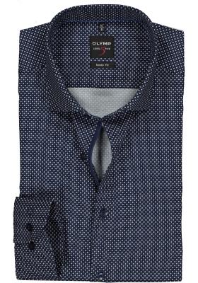 OLYMP Level 5 body fit overhemd, blauw met wit dessin satijnbinding (contrast)
