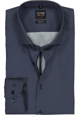 OLYMP Level 5 body fit overhemd, mouwlengte 7, blauw met wit dessin satijnbinding (contrast)