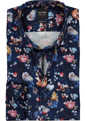 OLYMP Level 5 body fit overhemd, blauw gebloemd satijnbinding