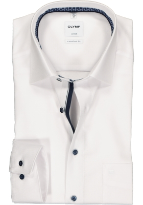 OLYMP Luxor comfort fit overhemd, wit structuur (contrast)