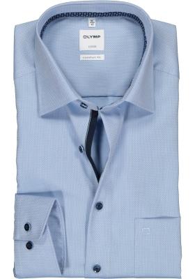 OLYMP Luxor comfort fit overhemd, lichtblauw structuur (contrast)