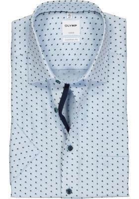 OLYMP Luxor comfort fit overhemd, korte mouw, lichtblauw met groen dessin structuur (contrast)