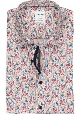 OLYMP Luxor comfort fit overhemd, korte mouw, wit, rood, blauw en beige dessin (contrast)