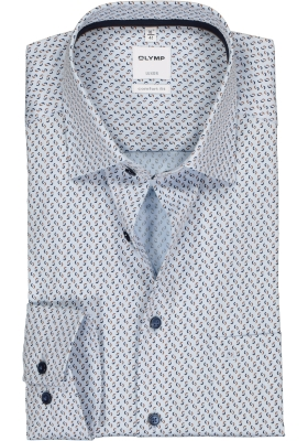 OLYMP Luxor comfort fit overhemd, blauw met beige dessin structuur (contrast)