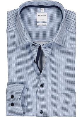OLYMP Luxor comfort fit overhemd, mouwlengte 7, wit met blauw mini dessin 2-ply (contrast)