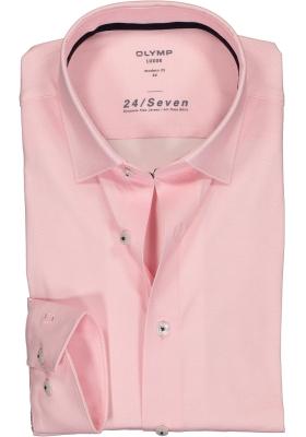 OLYMP Luxor 24/Seven modern fit overhemd, roze structuur (contrast)