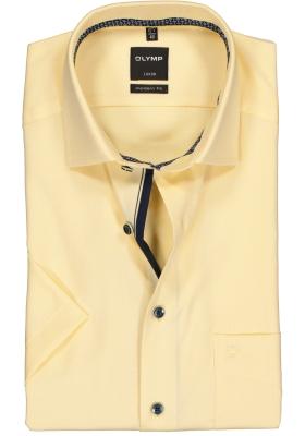 OLYMP Luxor modern fit overhemd, korte mouw, geel structuur (contrast)