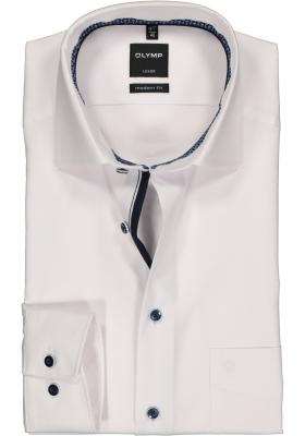 OLYMP Luxor modern fit overhemd, mouwlengte 7, wit mini dessin structuur (contrast)