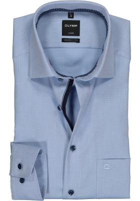 OLYMP Luxor modern fit overhemd, mouwlengte 7, lichtblauw mini dessin structuur (contrast)