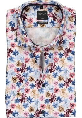 OLYMP Luxor modern fit overhemd, korte mouw, roze gebloemd (contrast)