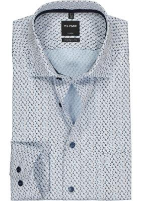 OLYMP Luxor modern fit overhemd, blauw met beige dessin structuur (contrast)