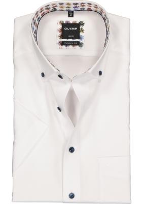 OLYMP Luxor modern fit overhemd, korte mouw, wit Oxford (contrast)