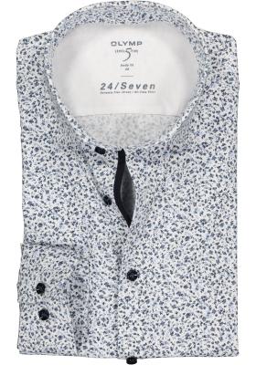 OLYMP Level 5 24/Seven body fit overhemd, blauw met wit gebloemd tricot (contrast)