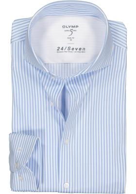 OLYMP Level 5 24/Seven body fit overhemd, lichtblauw met wit gestreept
