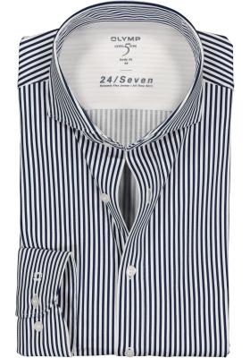 OLYMP Level 5 24/Seven body fit overhemd, marine blauw met wit gestreept