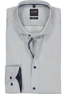 OLYMP Level 5 body fit overhemd, blauw met wit gestreept (contrast)