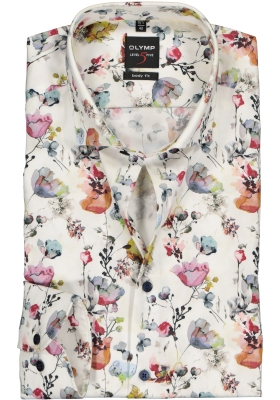 OLYMP Level 5 body fit overhemd, kleurig bloemen dessin