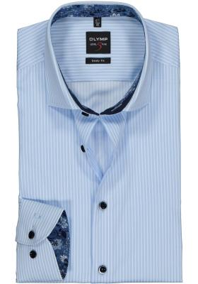 OLYMP Level 5 body fit overhemd, lichtblauw met wit gestreept (contrast)