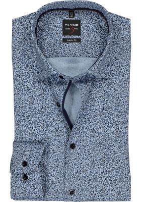 OLYMP Level 5 body fit overhemd, bruin met blauw dessin structuur (contrast)