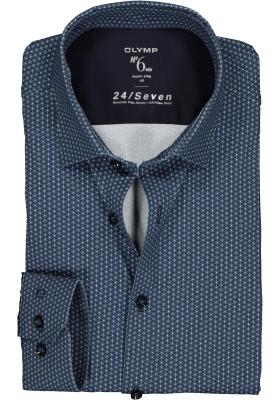 OLYMP No. Six 24/Seven super slim fit overhemd, blauw met wit dessin tricot