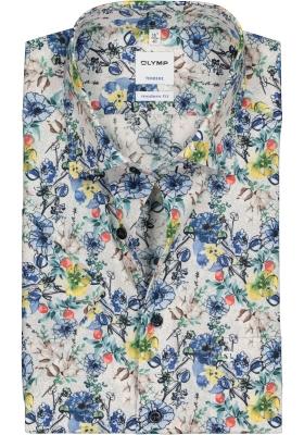 OLYMP Tendenz Modern Fit overhemd, korte mouw, geel met wit dessin