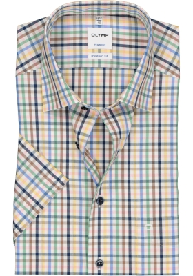 OLYMP Tendenz modern fit overhemd, korte mouw, geel met wit geruit