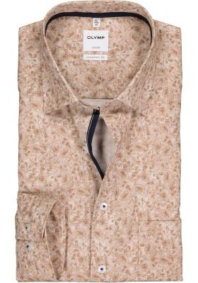 OLYMP Luxor comfort fit overhemd, bruin met wit dessin (contrast)