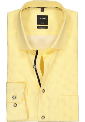 OLYMP Luxor modern fit overhemd, geel met wit mini dessin (contrast)