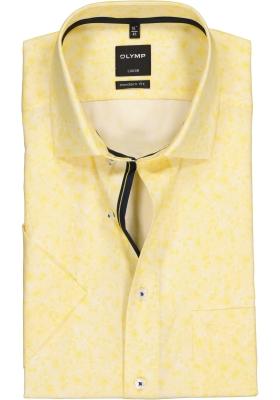OLYMP Luxor modern fit overhemd, korte mouw, geel met wit dessin (contrast)