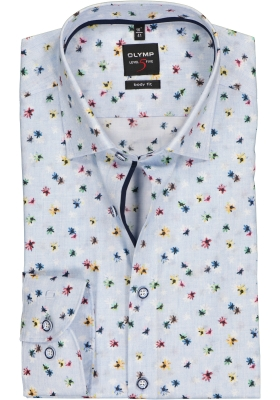OLYMP Level 5 body fit overhemd, lichtblauw bloemetjes dessin (contrast)