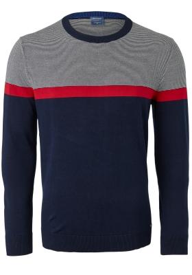 OLYMP modern fit trui katoen, O-hals, blauw, wit met rood gestreept