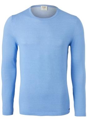 OLYMP Level 5 body fit trui katoen, O-hals, blauw
