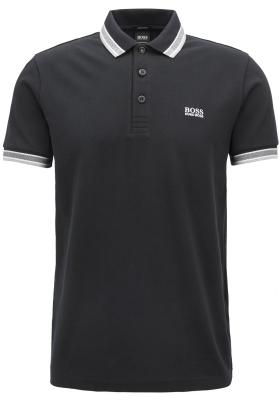 HUGO BOSS Paddy regular fit polo, heren polo korte mouw, zwart (contrast)
