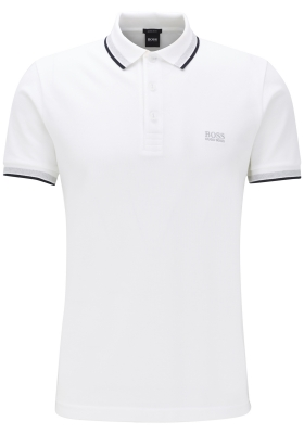 HUGO BOSS Paddy regular fit polo, heren polo korte mouw, wit (contrast)