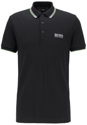 HUGO BOSS Paddy Pro regular fit, stretch heren polo korte mouw, zwart (contrast)