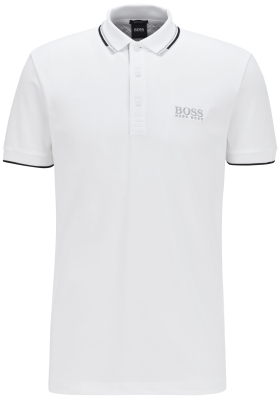 HUGO BOSS Paddy Pro regular fit, stretch heren polo korte mouw, wit (contrast)