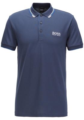 HUGO BOSS Paddy Pro regular fit, stretch heren polo korte mouw, blauw (contrast)