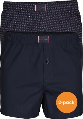 Tommy Hilfiger wijde boxershorts (2-pack), navy blauw en mini dessin