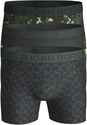 Bjorn Borg boxershorts Core (3-pack), groen met blauw uni en dessin