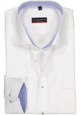 ETERNA modern fit overhemd, structuur heren overhemd, wit (blauw dessin contrast)