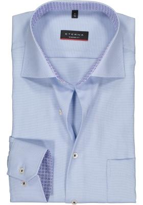 ETERNA modern fit overhemd, structuur heren overhemd, lichtblauw (blauw dessin contrast)