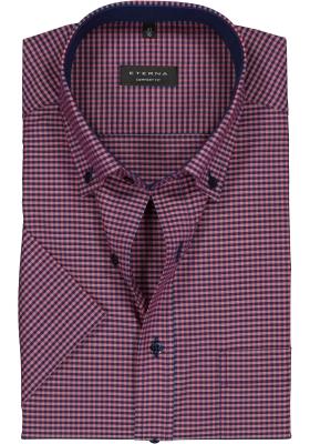 Eterna Comfort Fit overhemd, korte mouw, rood met blauw geruit (contrast)