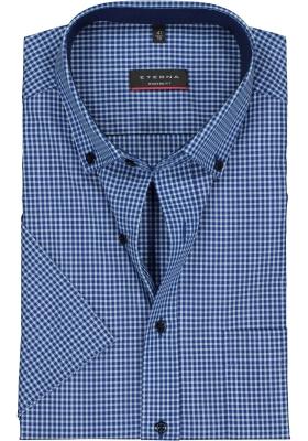 Eterna Modern Fit overhemd, korte mouw, blauw met turquoise geruit (contrast)