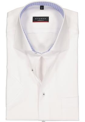 Eterna Modern Fit overhemd, korte mouw, wit structuur (contrast)
