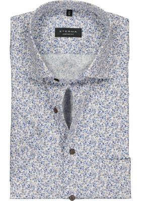 Eterna Comfort Fit overhemd, korte mouw, beige, blauw en wit dessin